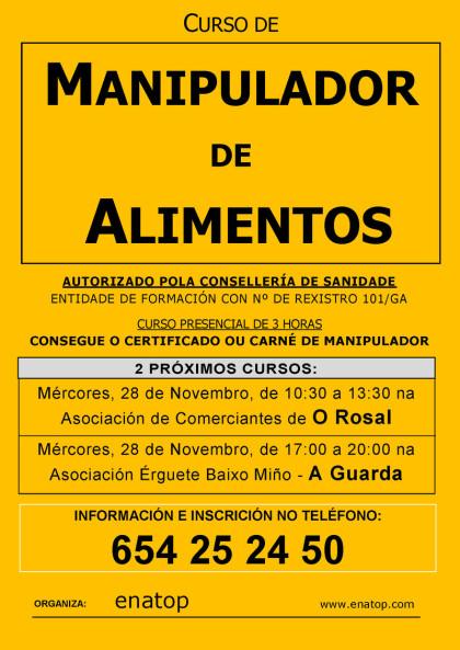 Curso de manipulador de alimentos en A Guarda o mércores 28 de novembro, pola tarde, de 17:00 a 20:00, na Asociación Érguete Baixo Miño.