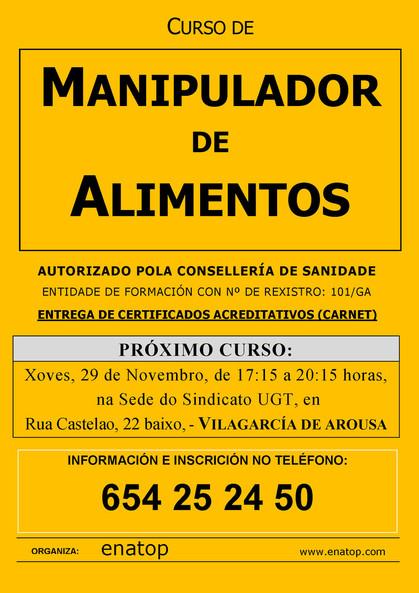 Curso de manipulador de alimentos en Vilagarcía de Arousa: Xoves, 29 de novembro, pola tarde, de 17:15 a 20:15, na sede de UGT.