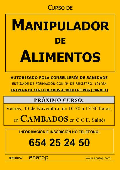 Curso de manipulador de alimentos en Cambados: Venres 30 de novembro, pola mañán, de 10:30 a 13:30, no Centro Comarcal do Salnés Exposalnés.