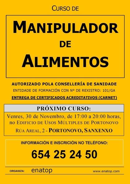 Curso de manipulador de alimentos en Portonovo, Sanxenxo: Venres, 30 de novembro, pola tarde, de 17:00 a 20:00 no Edificio de Usos Múltiples de Portonovo.