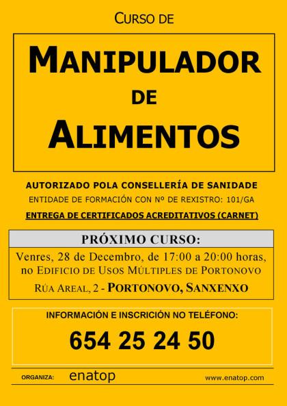 Curso de manipulador de alimentos en Portonovo, Sanxenxo: Venres, 28 de Decembro, pola tarde, de 17:00 a 20:00, no Edificio de Úsos Múltiples.