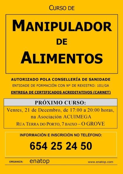 Curso de manipulador de alimentos en O Grove: venres, 21 de decembro, pola tarde, de 17:00 a 20:00.
