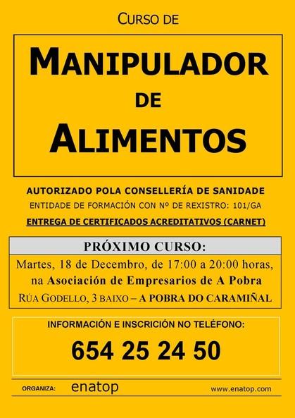 Curso de manipulador de alimentos en A Pobra do Caramiñal: martes, 18 de decembro, de 17:00 a 20:00, na Asociación de Empresarios.