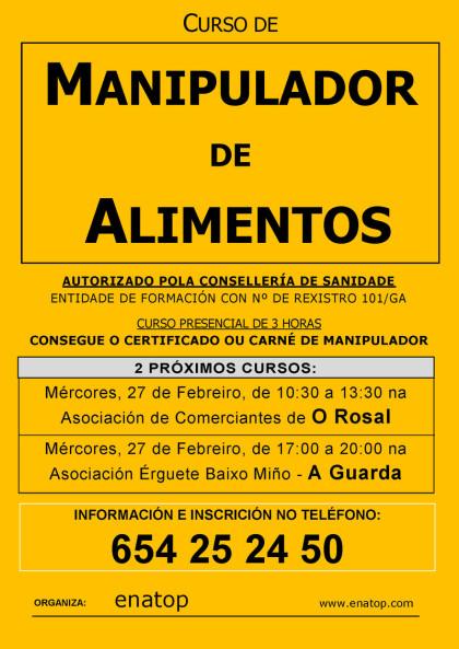Curso de manipulador de alimentos en O Rosal: miércoles 27 de febrero, por la mañana, de 10:30 a 13:30, en la Asociación de Comerciantes de O Rosal.