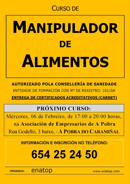 Curso de manipulador de alimentos en A Pobra do Caramiñal: miércoles, 06 de febrero, de 17:00 a 20:00, en la Asociación de Empresarios de A Pobra do Caramiñal.