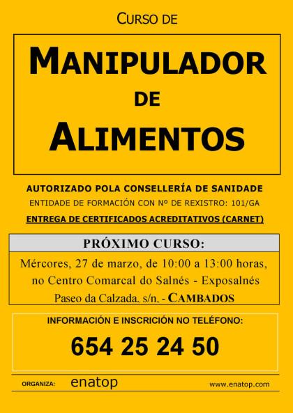 Curso de manipulador de alimentos en Cambados: Mércores 27 de marzo, pola mañán, de 10:00 a 13:00, no Centro Comarcal do Salnés Exposalnés.