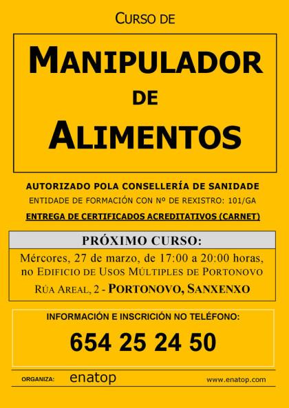 Curso de manipulador de alimentos en Portonovo, Sanxenxo: Mércores, 27 de marzo, pola tarde, de 17:00 a 20:00 no Edificio de Usos Múltiples de Portonovo.