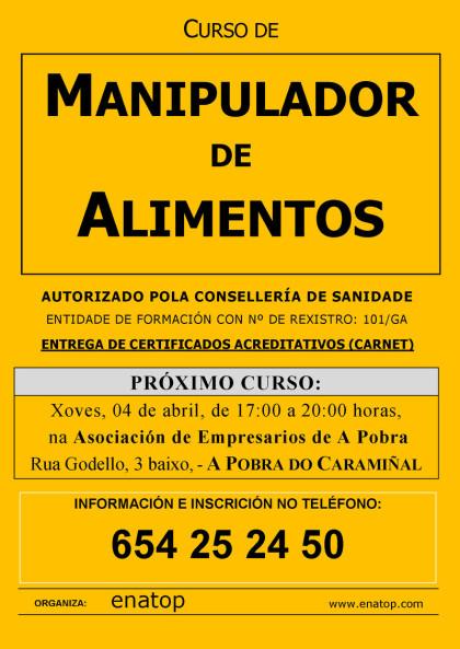 Curso de manipulador de alimentos en La Puebla del Caramiñal: martes, 04 de abril, de 17:00 a 20:00, na Asociación de Empresarios.