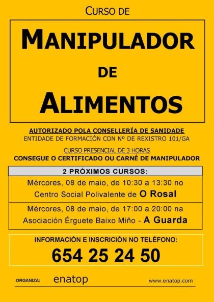 Curso de manipulador de alimentos en La Guarda: miércoles, 08 de mayo, de 17:00 a 20:00 en la Asociación Érguete Bajo Miño.