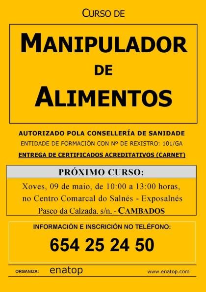 Curso de manipulador de alimentos en Cambados: jueves, 09 de mayo, de 10:00 a 13:00, en el Centro Comarcal del Salnés, Exposalnés.