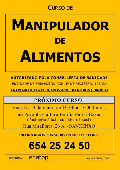 Curso de manipulador de alimentos en Sanjenjo: viernes, 10 de mayo, de 10:00 a 13:00, en el Pazo de la Cultura Emilia Pardo Bazán.