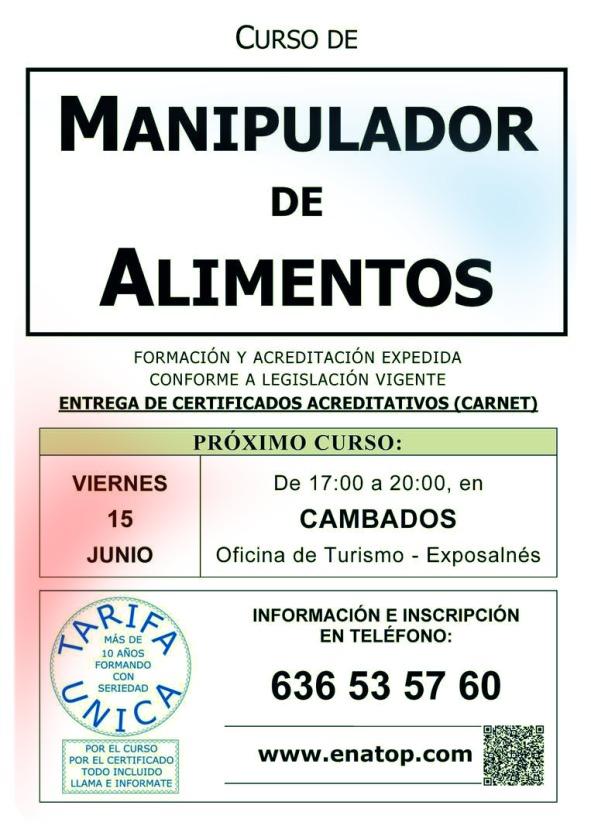 Curso de Manipulador de Alimentos en Cambados.
